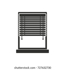 Window Sun Blind black simple silhouette icon vector illustration for design and web isolated on white background. Window Sun Blind vector object for label web and advertising