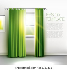 Window with sun rays shining trough, with transparent green curtains. Editable vector template
