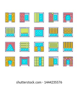 Window treatments and curtains color icons set. Roman shades, blinds, valance, panel, shutters. Room darkening. Interior design, home decor shop. Isolated vector illustrations
