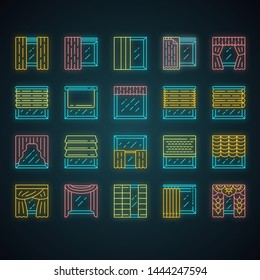 Window treatments and curtains neon light icons set. Roman shades, blinds, valance, panel, shutters. Room darkening. Interior design, home decor shop. Glowing signs. Vector isolated illustrations