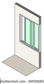 Window type / construction: Single horizontal sliding window shown installed in a wall.