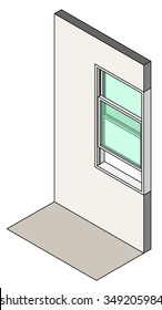 Window type / construction: Single hung vertical sliding window shown installed in a wall.