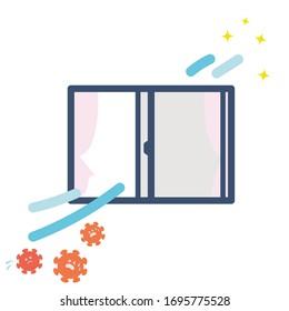 window ventilation illustration. Vector image.