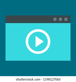 Window video play icon. Flat illustration of window video play vector icon for web design