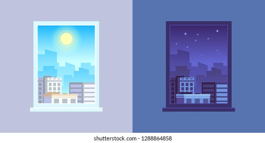 Window view. Day and night, apartment windows views. Morning and evening architecture house room cityscape cartoon vector concept