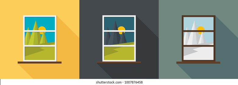 Window view in different season. Flat style with shadow. Summer, winter and night.