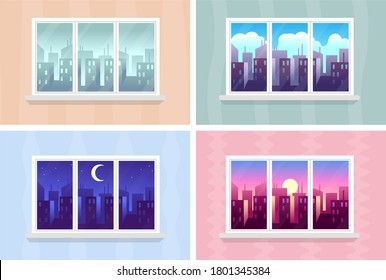 Window views. Morning, day and night cityscape, city buildings through house windows apartment, buildings and skyscrapers at various time, modern urban landscape, vector flat cartoon illustrations