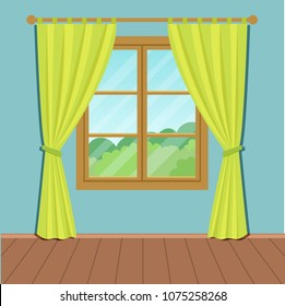 Window whis green curtains in the room. Vector flat illustration