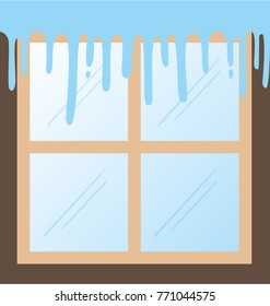 window in winter with icicles