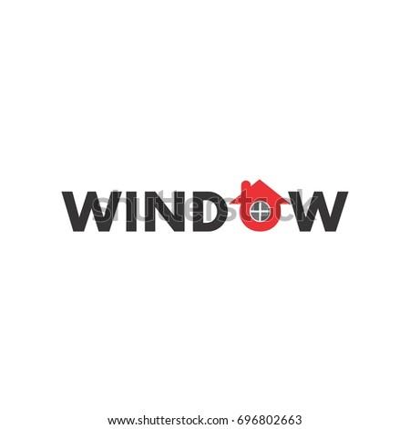 Window Word O Letter Window Logo Stock Vector Royalty Free
