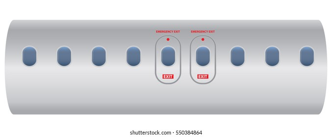 Windows of airplane with emergency exit door Vector illustration