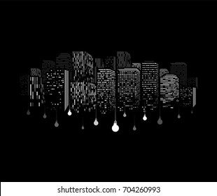 Windows of buildings silhouette with dangling light bulbs. White skyscraper pattern on black background. Downtown electricity print concept