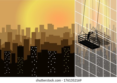 A windows cleaner of skyscrapper