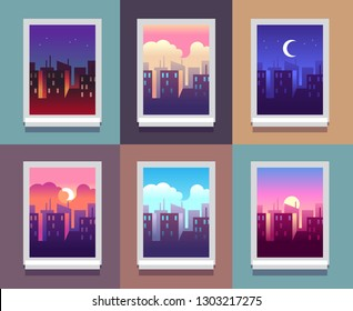 Windows day time. Early morning sunrise sunset, noon and dusk evening, night cityscape skyscrapers inside home window. Vector concept