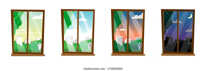 Windows with different times of day, summer, landscape. Morning, day, evening, night outside the window. Modern flat cartoon style vector illustration.