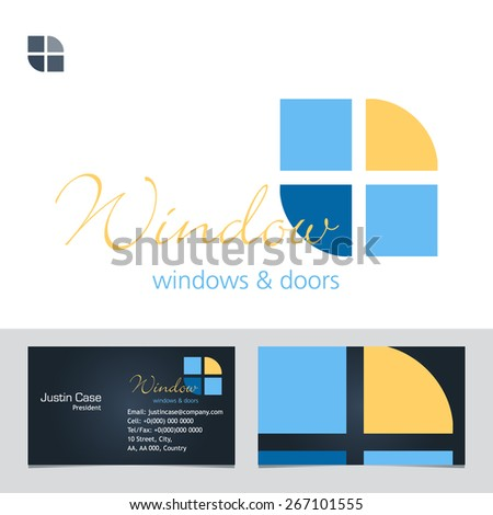 Windows doors business sign business card stock vector royalty free windows doors business sign business card vector template for windows doors manufacturer accmission