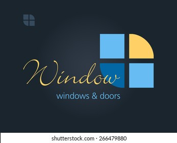 Windows & Doors business sign template. Vector icon for windows & doors manufacturer, seller, renovation businesses. Glass, window, building concept. May be used as web site or business card element