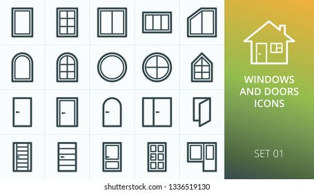Windows and doors icons set. Set of wooden doors, pvc windows, round and circle window, plastic and glazed doors, main entrance front door icons