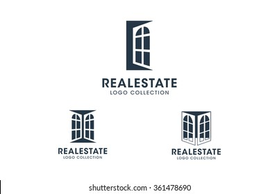 Windows logo set. Silhouette vector icons collection with placeholder text for business and real estate branding and business cards.