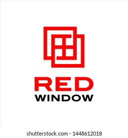 Windows logo simple modern red line art for exterior or architecture graphic design template idea