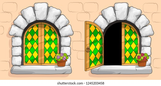 The windows of a medieval ancient old castle or fortress are framed with a gold frame. Open and closed casements with red stained glasses. White stone arch around the window. Pot with a flower. Vector