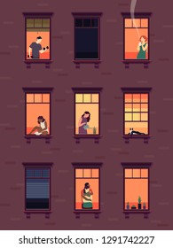 Windows with neighbors. Residential exterior window, neighborhood people talking building group fun indoors apartments, vector set