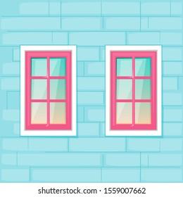 Windows on the blue brick wall background. Vector illustration cartoon flat style.