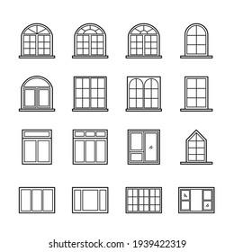 windows outline icon set, Interior material on white background.