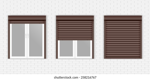 Windows with Rolling Shutters - vector drawing  on White brick wall background.