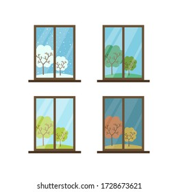 Windows with seasons and weather landscapes and trees. Flat cartoon style vector illustration