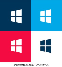 Windows symbol four color material and minimal icon logo set in red and blue