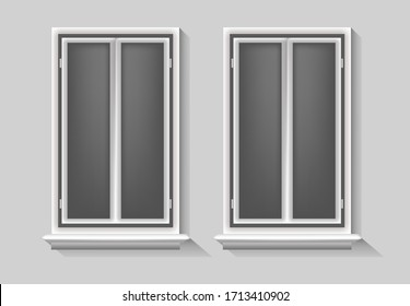 Windows vector illustration , isolated concept template set element empty , blank background vintage, frame realistic modern objecy glass room