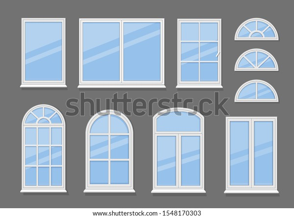 Windows with white frames set vector illustration. Various types plastic windows collection. Interior and exterior elements