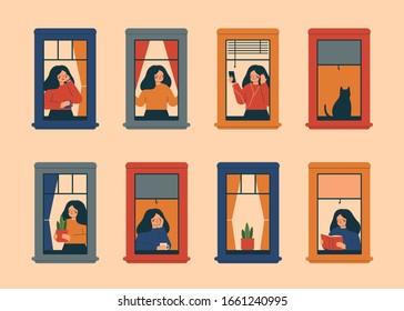 お茶を飲む、電話を話す、鉢植えの植物を運ぶ、本を読む、音楽を聞く、新鮮な空気を吸うなど、アパートで日々のことをする女性の窓。フラットスタイルのベクターイラスト。