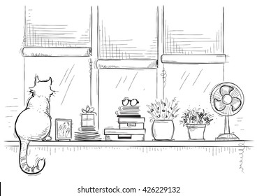 Windowsill with home love objects and cute cat.Hand drawn sketch of black illustration.
