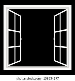 windows-wide open window silhouette vector