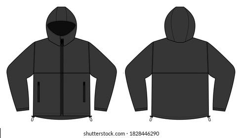 windproof hooded jacket ( parka) vector illustration / black