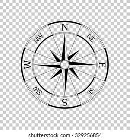 windrose compass vector icon - black illustration
