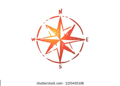 Windrose, navigation, compass, direction concept. Hand drawn symbol of navigation concept sketch. Isolated vector illustration.