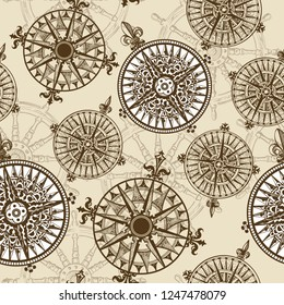 Windrose. Rose of the winds. Design element of vintage nautical maps. Vector seamless pattern. Hand-drawn sketch