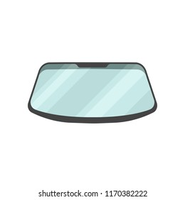 Windshield of passenger automobile. Part of car. Flat vector for advertising banner, poster or flyer of auto garage