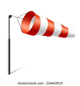 Windsock inflated by wind. Vector.