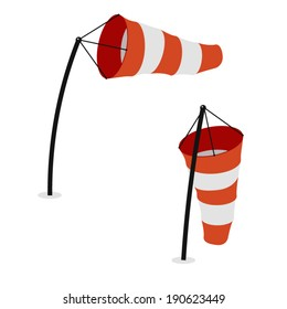 Windsocks inflated by wind and hanging at the airport runway