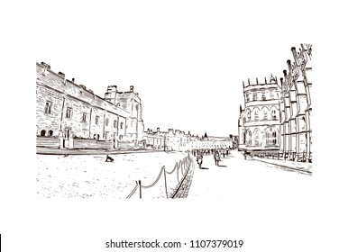 Windsor is a town on the River Thames in southeast England, just west of London. Hand drawn sketch illustration in vector.