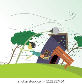 windstorm vector illustration