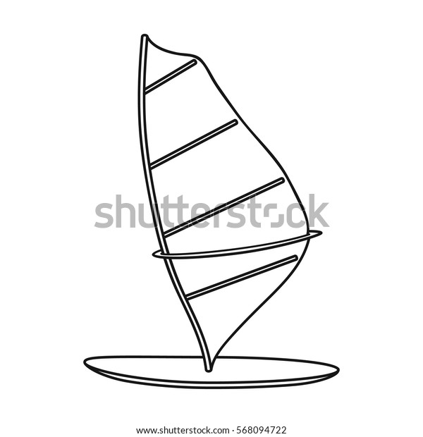 Windsurf board icon in outline style isolated on white background. Surfing symbol stock vector illustration.