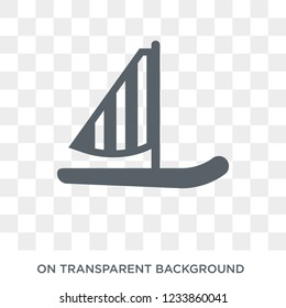 Windsurf Board icon. Trendy flat vector Windsurf Board icon on transparent background from Nautical collection.