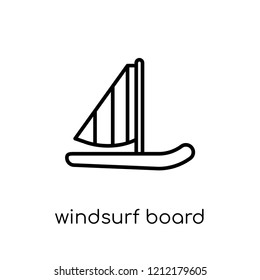 Windsurf Board icon. Trendy modern flat linear vector Windsurf Board icon on white background from thin line Nautical collection, editable outline stroke vector illustration