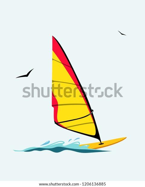 Windsurf Board Vector Illustration Windsurfing Stock Vector