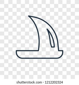 Windsurf concept vector linear icon isolated on transparent background, Windsurf concept transparency concept in outline style
